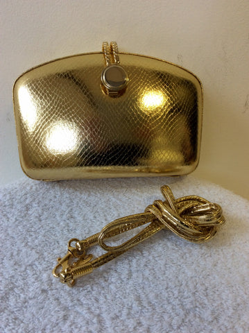 GOLD SNAKESKIN PRINT HARDCASE EVENING CLUTCHBAG WITH ADDITIONAL STRAP