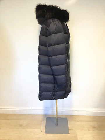 KAREN MILLEN BLACK PADDED DOWN & FEATHER FILLED FAUX TRIM HOODED COAT SIZE 16
