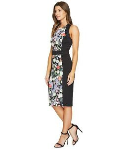 BRAND NEW TED BAKER AKVA KENSINGTON BLACK & FLORAL PRINT BODYCON DRESS SIZE 3 UK 12