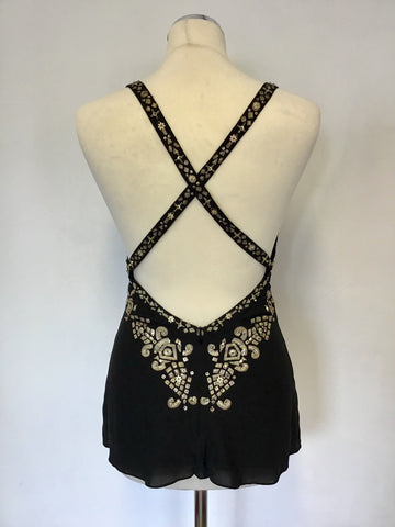TEMPERLEY BLACK SILK & GOLD EMBROIDERED & EMBELLISHED CROSS OVER BACK TOP SIZE 8