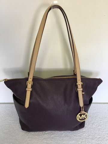 MICHAEL KORS AUBERGINE & BEIGE STRAPS LEATHER TOTE BAG