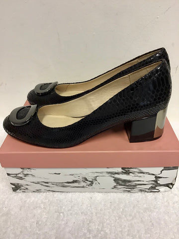BRAND NEW MODA IN PELLE BLACK MOCC SNAKESKIN BLOCK HEEL COURT SHOES SIZE 7.5/41