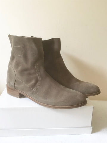 BODEN LIGHT BROWN SUEDE PULL ON ANKLE BOOTS SIZE 6/39