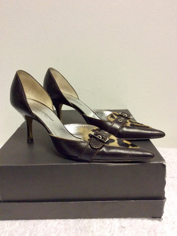 DOLCE & GABBANA DARK BROWN LEATHER & LEOPARD PRINT PONYSKIN HEELS SIZE 3.5/36