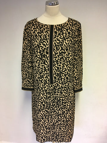 JAEGER BLACK & CAMEL ANIMAL PRINT SHIFT DRESS SIZE 12