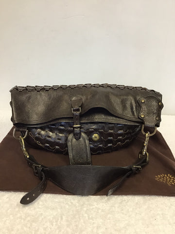 MULBERRY DARK BROWN LEATHER JULIE RIO WOVEN BODY SHOULDER BAG
