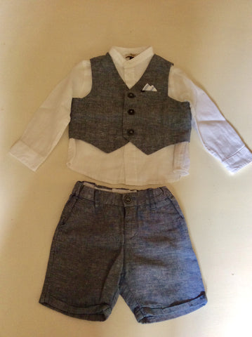 ARMANI BABY WHITE SHIRT & BLUE WAISTCOAT & SHORTS OUTFIT AGE 12 MONTHS