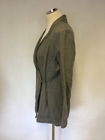 OSKA GREY LINEN WRAP ACROSS JACKET SIZE 0 FIT UK 8/10/12