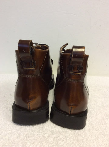 BRAND NEW MARKS & SPENCER AUTOGRAPH CHESTNUT BROWN LEATHER LACE UP BOOTS SIZE 9/43