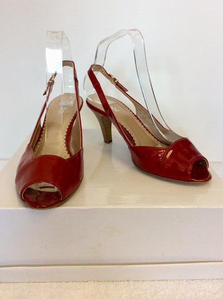 fd5f815216e GABOR RED PATENT LEATHER PEEP TOE HEELED SANDALS SIZE 5 38 ...