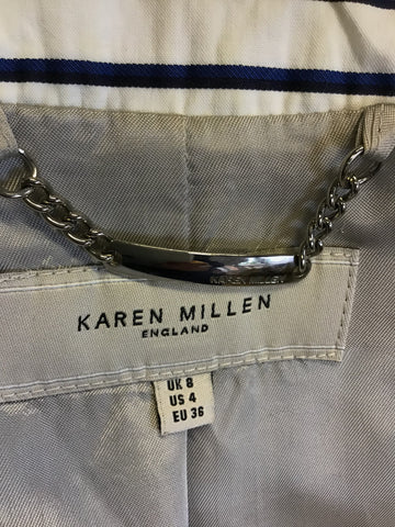 KAREN MILLEN WHITE WITH BLUE & BLACK STRIPE COTTON BLEND JACKET SIZE 8