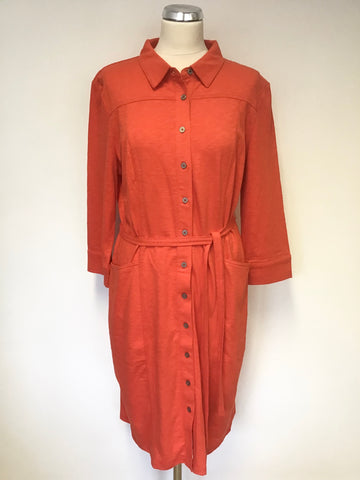 BRAND NEW BODEN RED COTTON BUTTON FRONT TIE WAIST 3/4 SLEEVE DRESS SIZE 16R