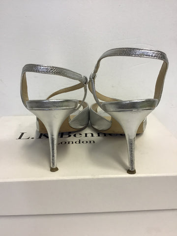 LK BENNETT SILVER LEATHER STRAPPY SANDALS SIZE 6/39