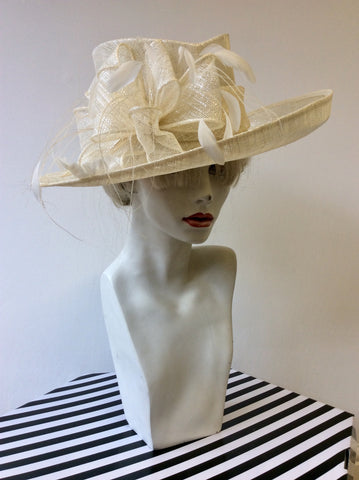 EMMA B BY BALFOUR HATS IVORY & WHITE FEATHER TRIM FORMAL HAT