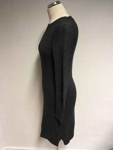 JAEGER DARK GREY KNIT LONG SLEEVE DRESS SIZE S