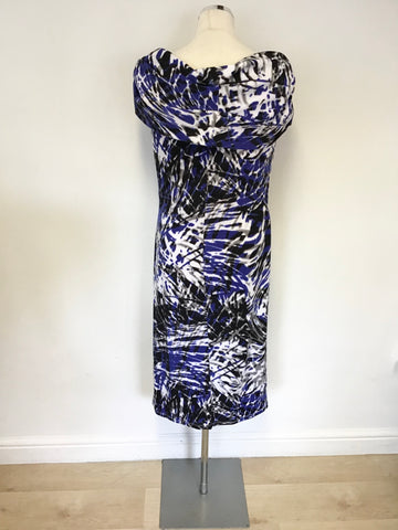 PIED A TERRE BLUE,BLACK,WHITE & GREY PRINT STRETCH PENCIL DRESS SIZE 16