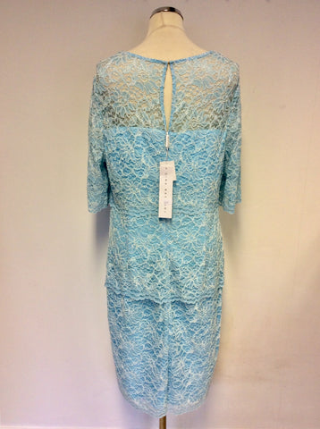 BRAND NEW GINA BACCONI AQUA BLUE TIERED LACE DRESS SIZE 18
