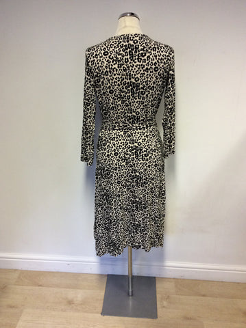 BRAND NEW LK BENNETT BLACK & CREAM LEOPARD PRINT WRAP DRESS SIZE 10