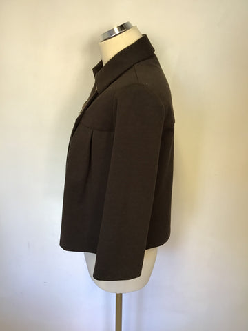 JOSEPH RIBKOFF BROWN DOUBLE BREASTED SHORT JACKET SIZE 10