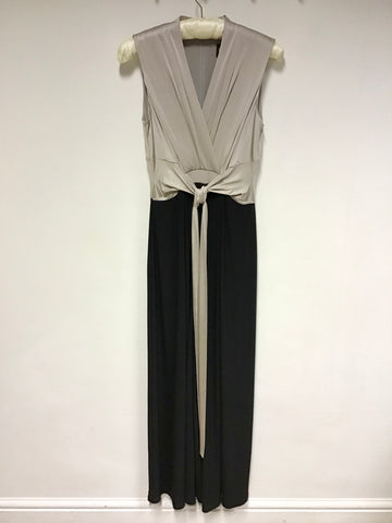 PHASE EIGHT BLACK & OYSTER BEIGE SLEEVELESS STRETCH TIE BELT JUMPSUIT SIZE 10
