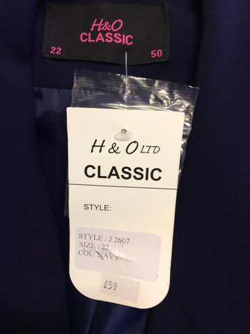 BRAND NEW HUDSON & ONSLOW NAVY BLUE CLASSIC JACKET SIZE 22