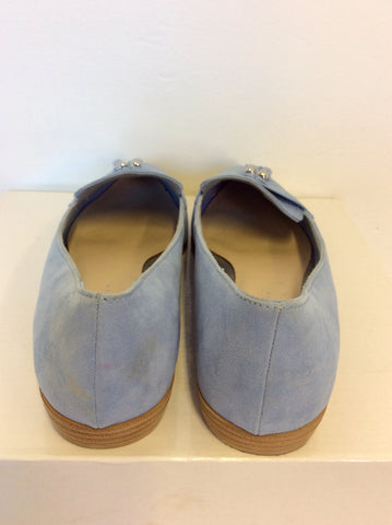 BRAND NEW MARKS & SPENCER CORNFLOWER SUEDE LOAFERS SIZE 6/39