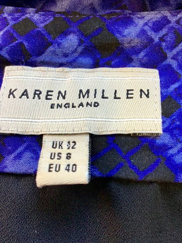 KAREN MILLEN BLACK & BLUE SNAKESKIN PRINT SILK DRESS SIZE 12