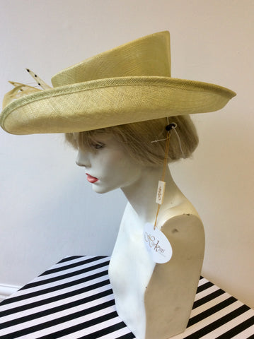 BRAND NEW HAWKINS COLLECTION PALE LIME BOW & FEATHER TRIM FORMAL HAT