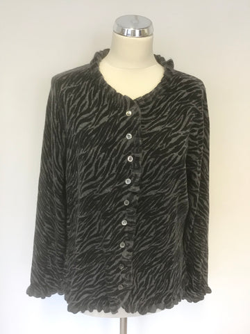 PURE COLLECTION BLACK & GREY DESIGN 100% CASHMERE FRILL EDGE CARDIGAN SIZE L