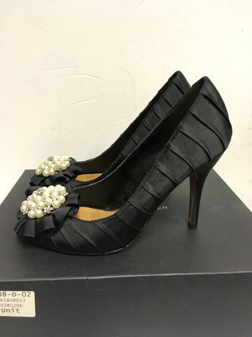 BRAND NEW KURT GEIGER BLACK SATIN PEARL & DIAMANTÉ TRIM PEEPTOE HEELS SIZE 5/38