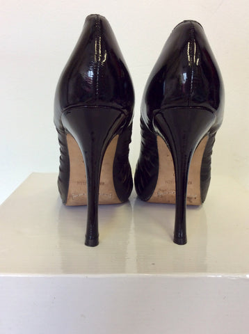 KAREN MILLEN BLACK LEATHER LAZER CUT OUT PEEP TOE HEELS SIZE 5/38