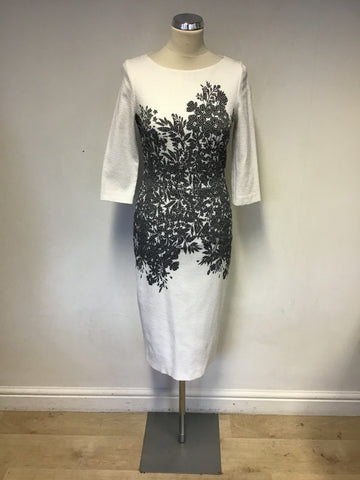 DAMSEL IN A DRESS WHITE & BLACK FLORAL PRINT 3/4 SLEEVE PENCIL DRESS SIZE 10