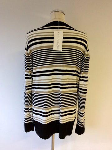 BRAND NEW ARTIGIANO BLACK,WHITE & TAUPE STRIPE V NECK CARDIGAN SIZE 20