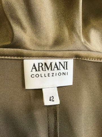 ARMANI COLLEZIONI BRONZE SILK RUCHED & FRILL V NECKLINE FITTED BLOUSE SIZE 42 UK 12