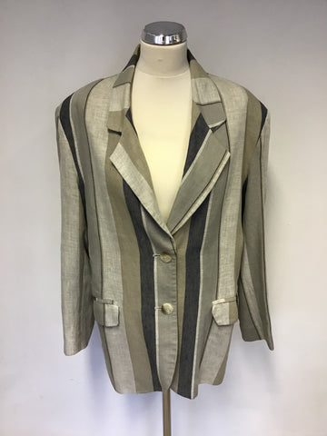 LIBERTY BEIGE & DARK BLUE STRIPE LINEN BLEND JACKET SIZE 16