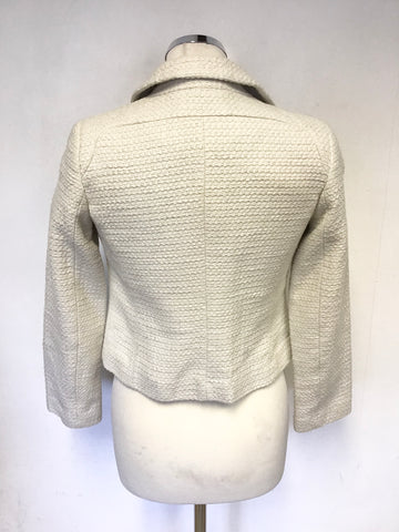 BODEN COTTON WEAVE CREAM SHORT BOX JACKET SIZE 6 PETITE