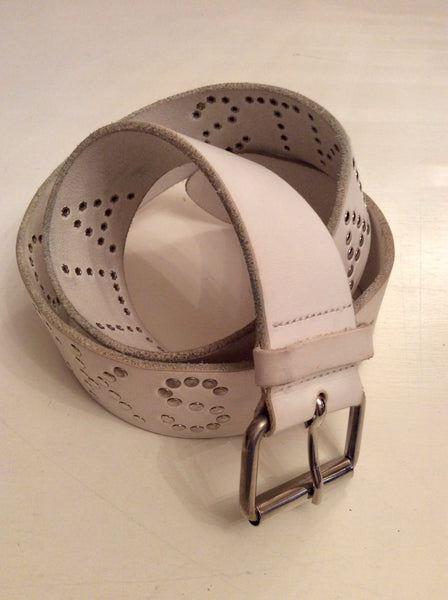 "ALL SAINTS WHITE LEATHER ""ALL SAINTS ROCKS"" SILVER STUDDED BELT SIZE M"
