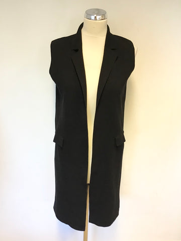 JIGSAW BLACK STRETCH SLEEVELESS JACKET/ GILET SIZE S