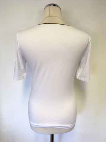 AIRFIELD WHITE & PEWTER TRIM SHORT SLEEVE T-SHIRT SIZE 38 UK 10
