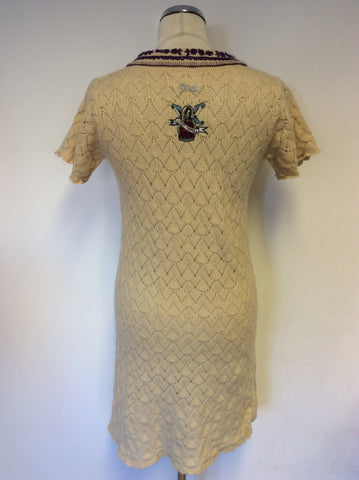 ODD MOLLY CREAM WOOL BLEND SHORT SLEEVE KNIT DRESS SIZE 2 UK 10