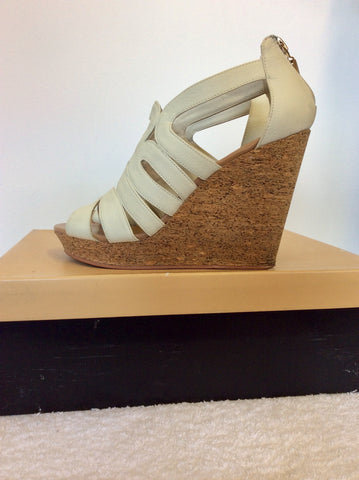 CARVELA WHITE KARLA WEDGE HEEL SANDALS SIZE 5/38