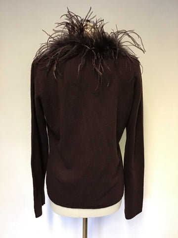 MONSOON DARK BROWN FAUX FUR & FEATHER TRIM CARDIGAN SIZE 14