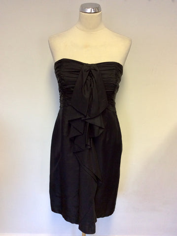 COAST BLACK SILK STRAPLESS FRILL TRIM DRESS SIZE 12