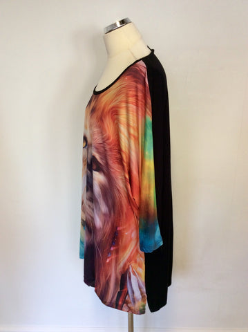 VINCENZO ALLOCCA BLACK & MULTI COLOURED LION PRINT TOP ONE SIZE : PLUS