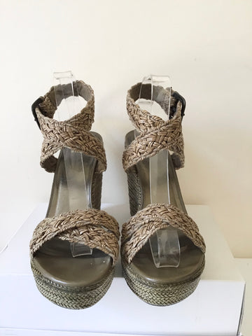 STUART WEITZMAN KHAKI TEXTILE WEAVE & LEATHER WEDGE HEEL SANDALS SIZE 7/40