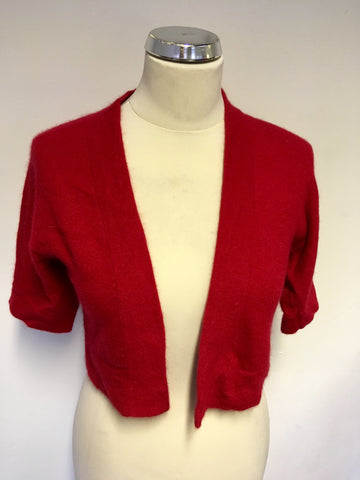 HOBBS RED LAMBSWOOL & ANGORA BLEND SHORT SLEEVE BOLERO CARDIGAN SIZE 8