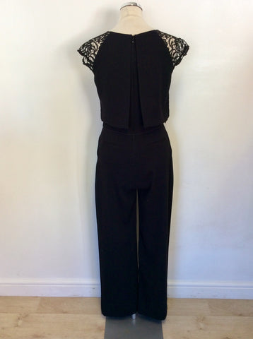 BRAND NEW PHASE EIGHT BLACK LACE TOP CAP SLEEVE JUMPSUIT SIZE 10