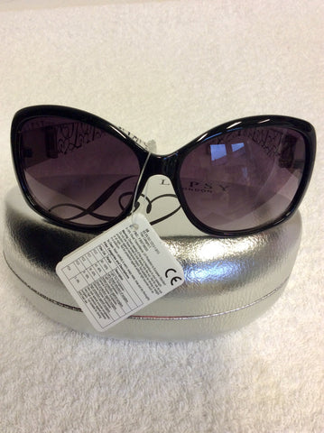 BRAND NEW LIPSY BLACK & CLEAR PRINT SIDE SUNGLASSES WITH CASE