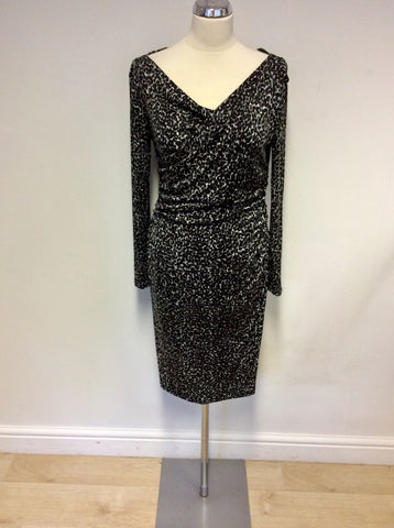 LK BENNETT MARIELLA BLACK & GREY LEOPARD PRINT DRESS SIZE 8
