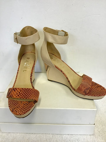 RAVEL CREAM & CORAL SNAKESKIN PRINT WEDGE HEEL SANDALS SIZE 7/40